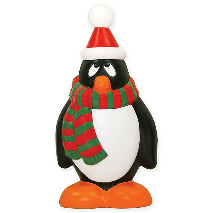 light up holiday penguin with red and green scarf outdoor christmas decoration