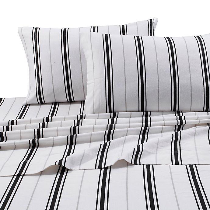 Alternate image 1 for Tribeca Living 170 GSM Print Flannel Deep Pocket Full Sheet Set in Black/Grey