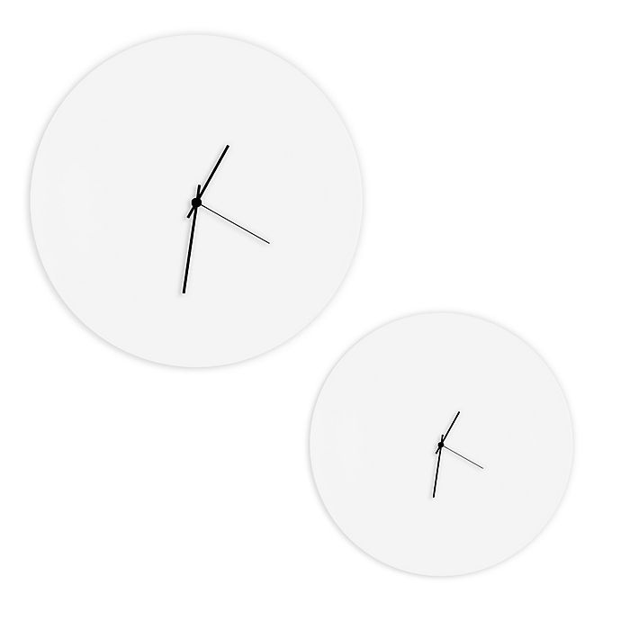 Alternate image 1 for Whiteout Circle Metal Wall Clock in White