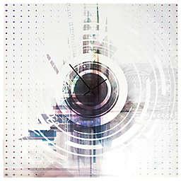 Metal Art Studio Blue Stripe Clock in White/Grey