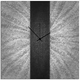 Metal Art Studio Metal Stripe Wall Clock in Black/Silver