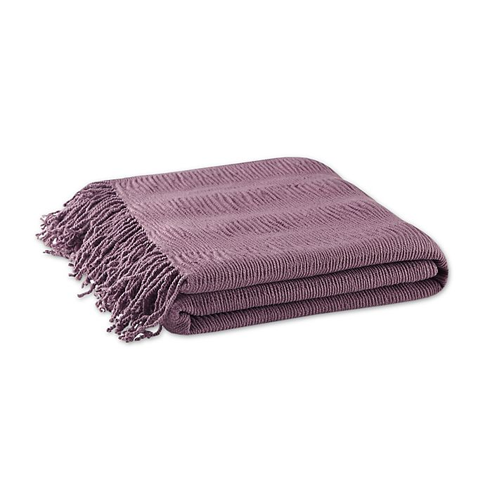 Alternate image 1 for INK+IVY Reeve Ruched Throw Blanket in Purple