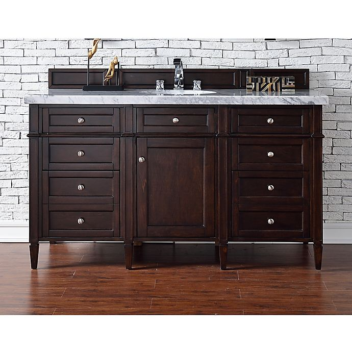 Alternate image 1 for James Martin Furniture Brittany 60-Inch Single Vanity in Mahogany with 4 cm Stone Top in White