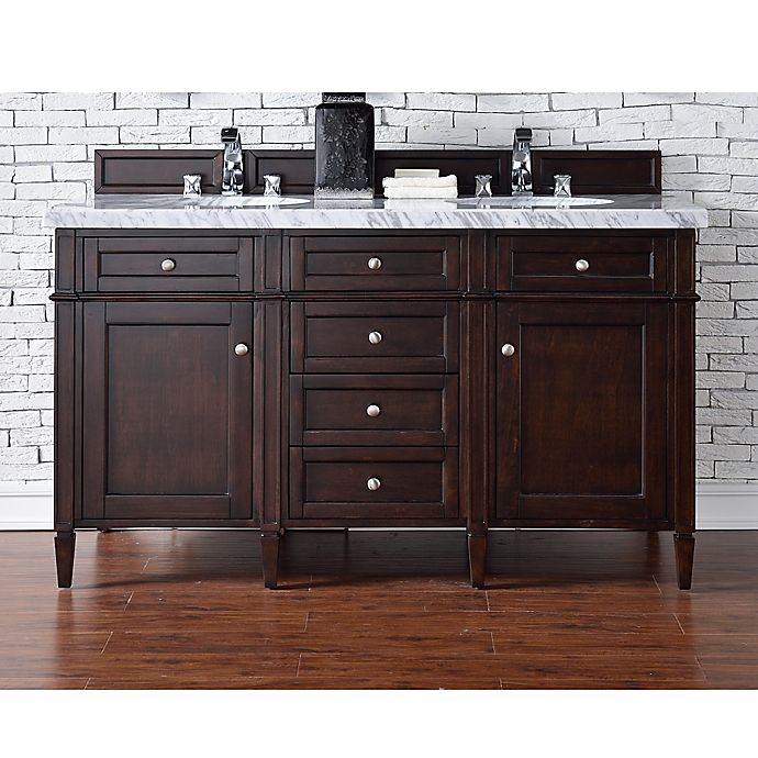 Alternate image 1 for Brittany 60-Inch Double Vanity in Mahogany with 4 cm Marble Top in White
