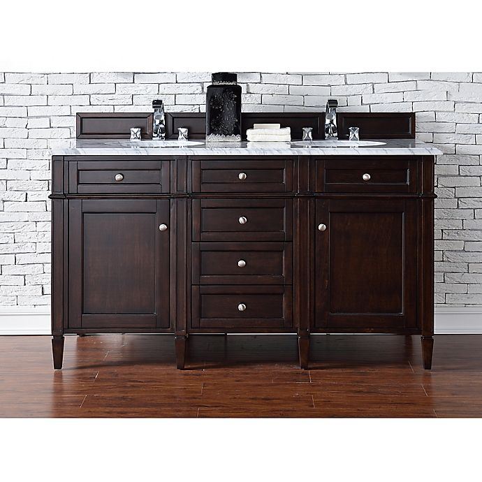 Alternate image 1 for Brittany 60-Inch Double Vanity in Mahogany with 2 cm Marble Top in White
