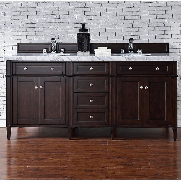 Alternate image 1 for Brittany 72-Inch Double Vanity Cabinet with 4-cm  Carrara White Stone Top in Mahogany