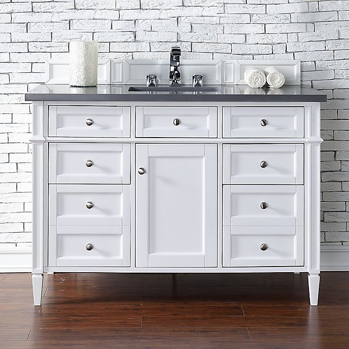 Alternate image 1 for Brittany 48-Inch Single Vanity Cabinet with 3-cm Shadow Grey Quartz Top in White