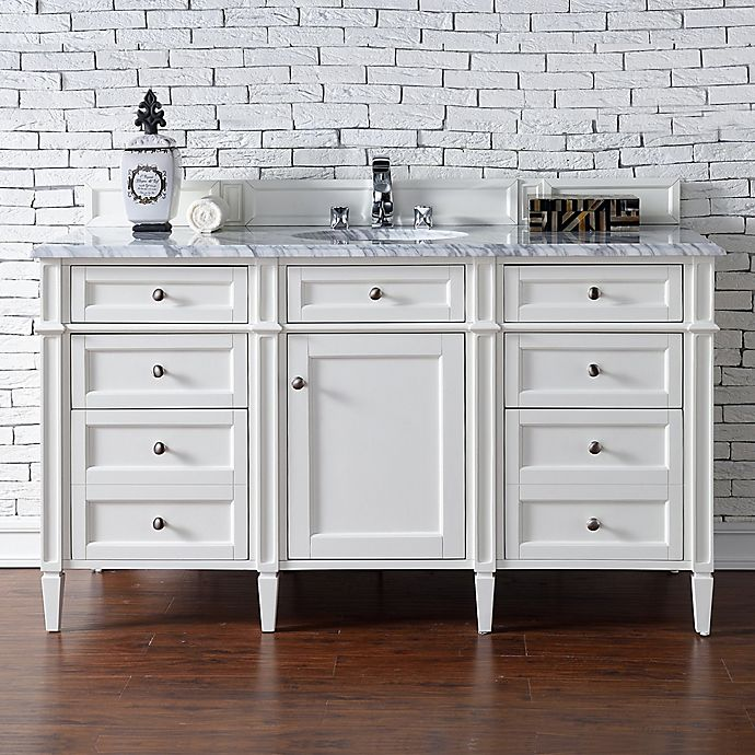 Alternate image 1 for James Martin Furniture Brittany 60-Inch Single Cabinet Vanity with Marble Top in Cottage White