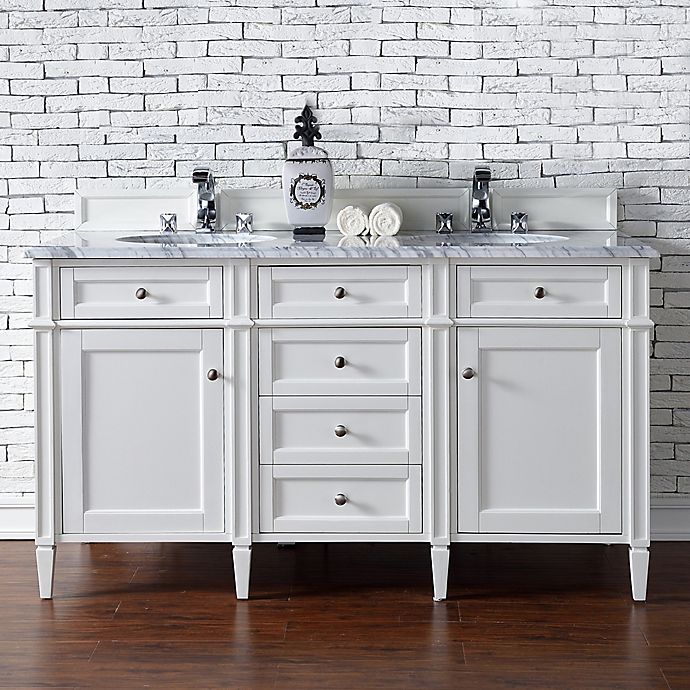 Alternate image 1 for James Martin Furniture 60-Inch Double Vanity with Marble Top in Cottage White