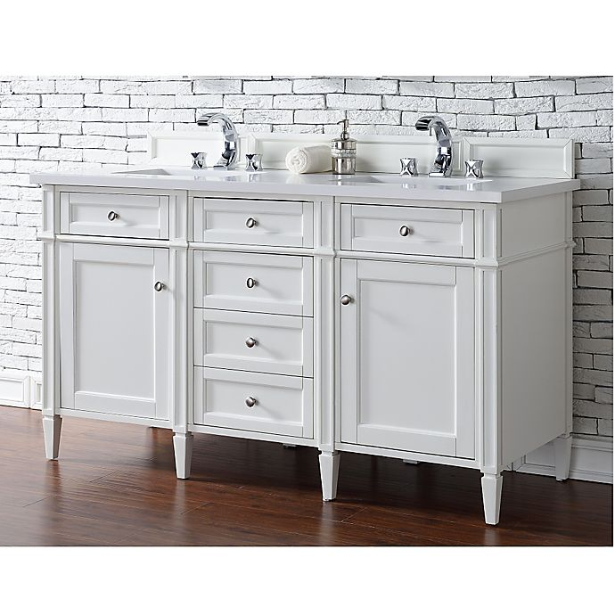 Alternate image 1 for James Martin Furniture 60-Inch Double Vanity with Quartz Top in Cottage White