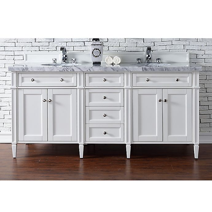 Alternate image 1 for James Martin Furniture Brittany 72-Inch Double Cabinet Vanity with 4 cm Marble Top in Cottage White