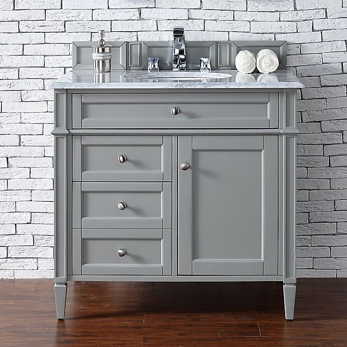Alternate image 1 for James Martin Furniture Brittany 36-Inch Vanity in Urban Grey with 3 cm Marble Top in White