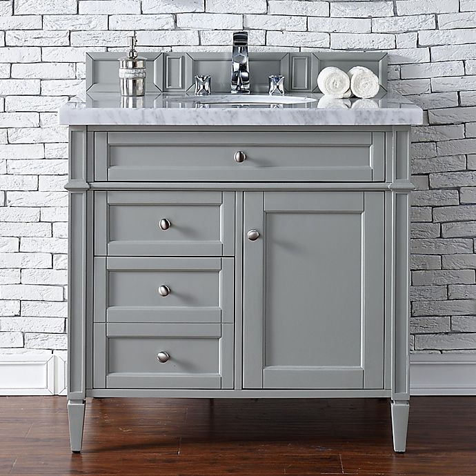 Alternate image 1 for James Martin Furniture Brittany 36-Inch Vanity in Urban Grey with 4 cm Marble Top in White