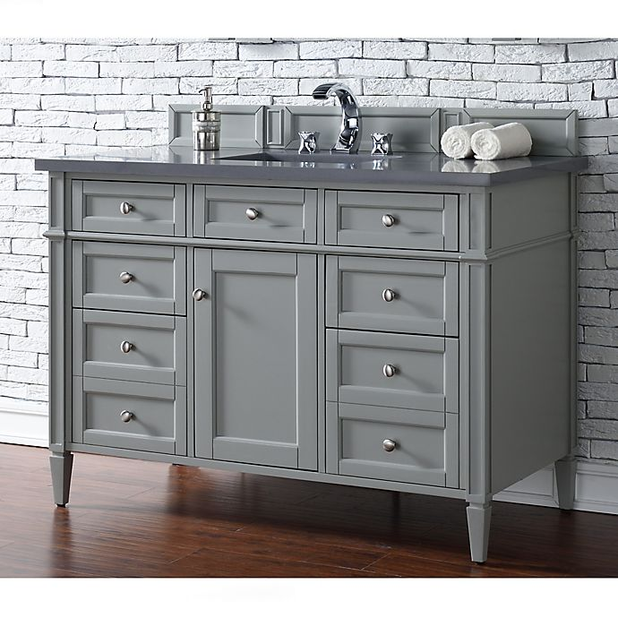 Alternate image 1 for James Martin Furniture Brittany 48-Inch Single Vanity Cabinet with 3cm Marble Top in Grey
