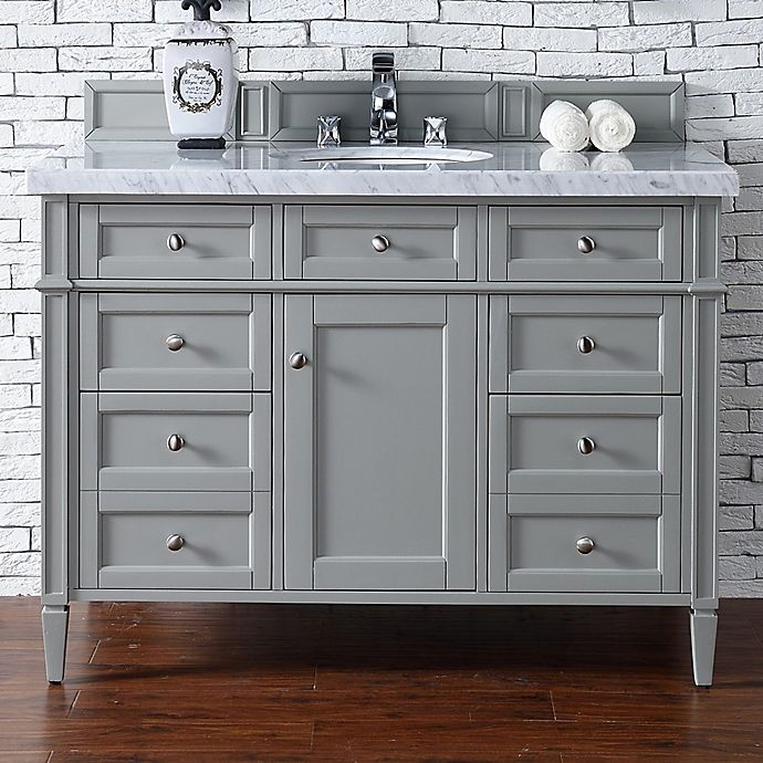 Alternate image 1 for James Martin Furniture Brittany 48-Inch Single Vanity Cabinet with 4cm Marble Top in Grey/White