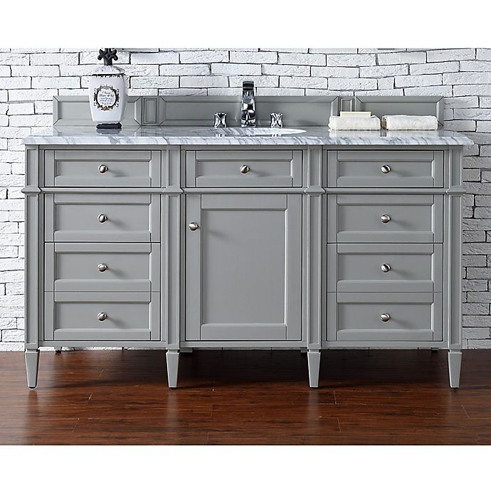 Alternate image 1 for James Martin Furniture Brittany 60-Inch Single Cabinet Vanity with Marble Top in Urban Grey