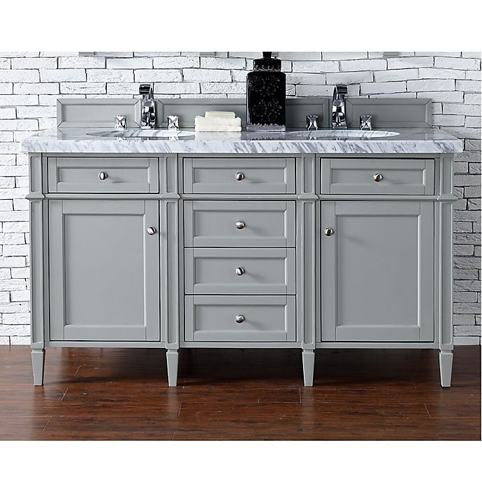 Alternate image 1 for James Martin Furniture Brittany 60-Inch Double Cabinet Vanity with Marble Top in Urban Grey