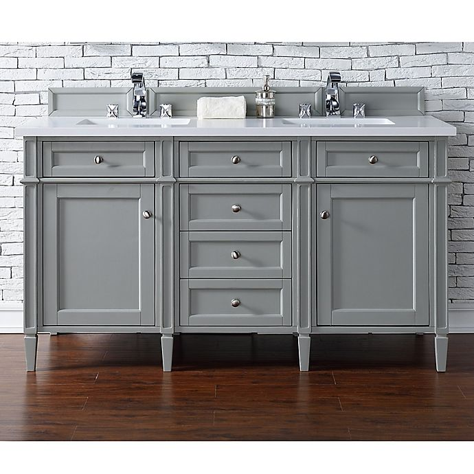 Alternate image 1 for James Martin Furniture Brittany 60-Inch Double Cabinet Vanity with Quartz Top in Urban Grey