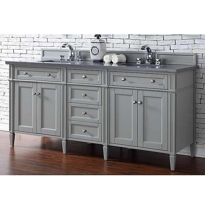 Alternate image 1 for James Martin Furniture Brittany 72-Inch Double Cabinet Vanity with Quartz Top in Urban Grey