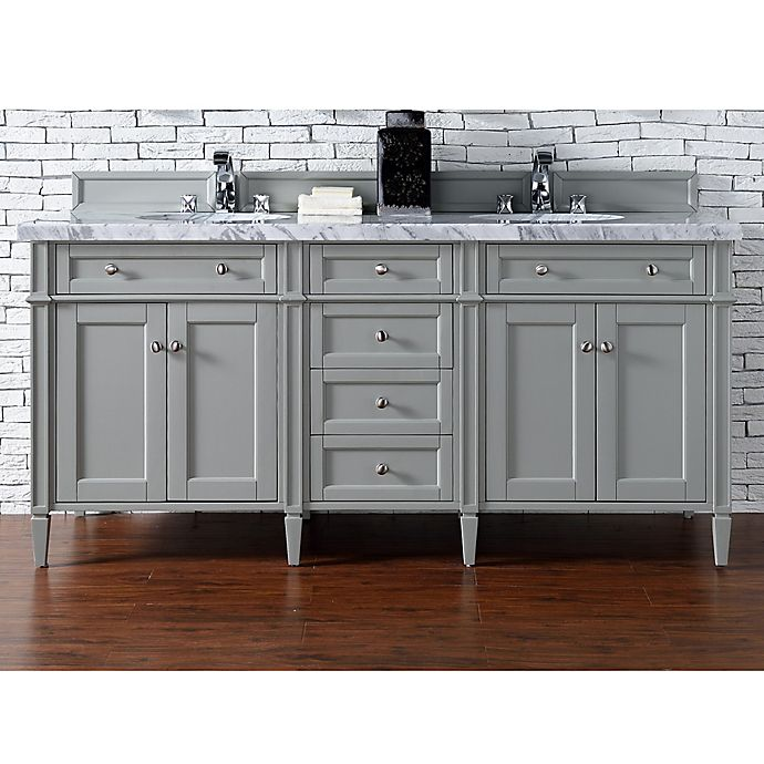 Alternate image 1 for James Martin Furniture Brittany 72-Inch Double Cabinet Vanity with Marble Top in Urban Grey