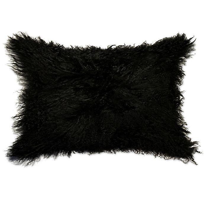 Alternate image 1 for Natural 100% Sheepskin Mongolian Oblong Throw Pillow in Black