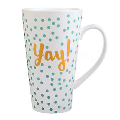 "Formations ""Yay"" Latte Mug in Turquoise/White"