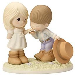 Precious Moments® Cowboy Kissing Girl's Hand Figurine
