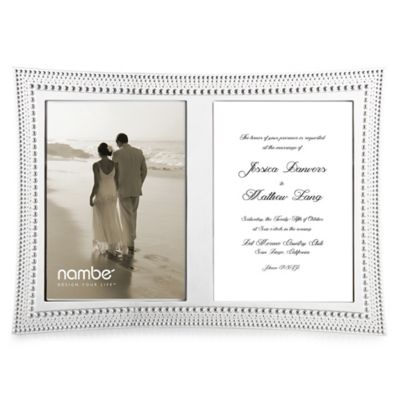 Nambe Beaded Double Invitation Frame In Silver Plate Bed