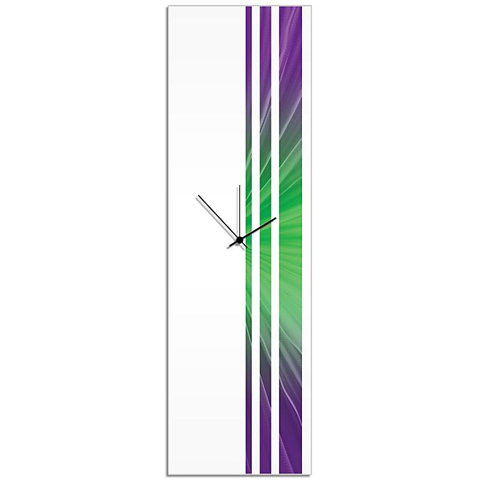 Alternate image 1 for Metal Art Studio Starlight Triple Stripe Clock in Purple/Green with Black Hands