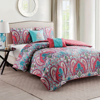 Vcny Casa Re Al Comforter Set In Pink Turquoise