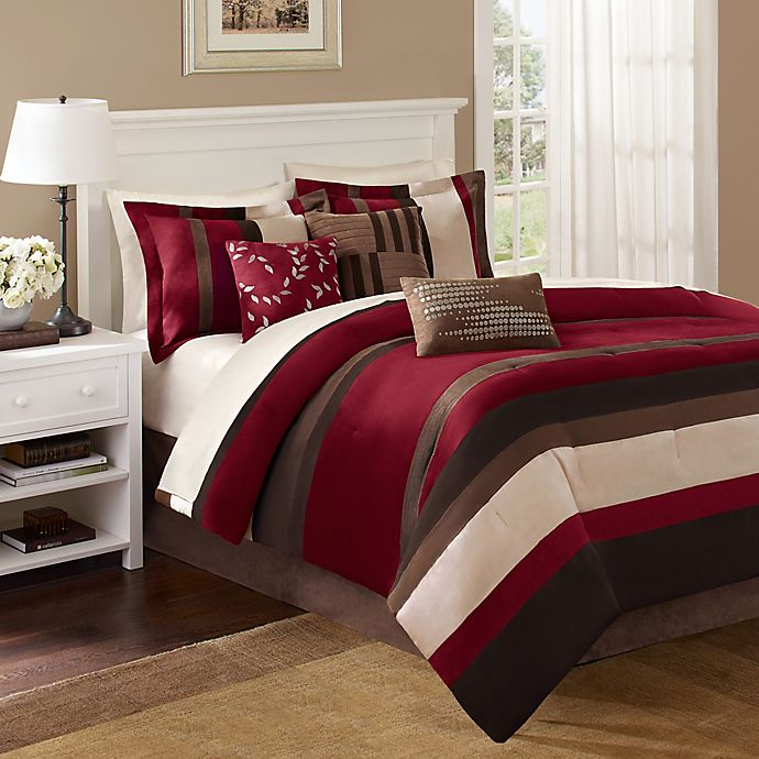 Alternate image 1 for Madison Park Boulder Stripe 7-Piece California King Comforter Set in Red