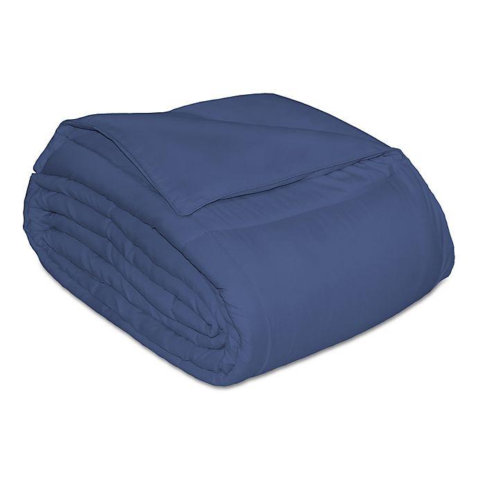Alternate image 1 for Microfiber Down Alternative Full/Queen Comforter in Navy