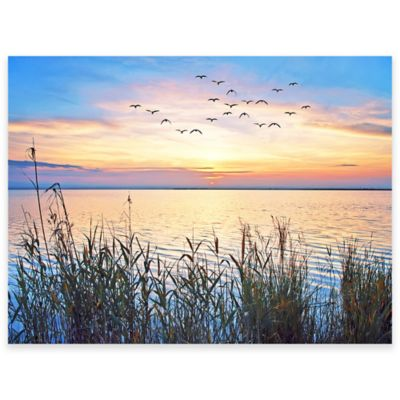 Lake Sunset Outdoor All-Weather Canvas Wall Art | Bed Bath ...