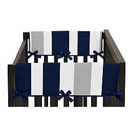 Sweet Jojo Designs Navy Blue and Grey Stripe Side Crib Rail Guard Covers