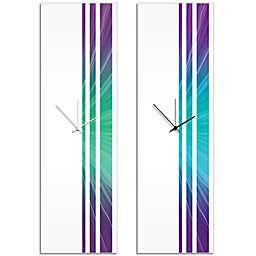Metal Art Studio Starlight Triple Stripe Clock in Purple/Turquoise with Black Hands