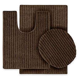 Sheridan 3-Piece Nylon Bath Rug Set in Chocolate
