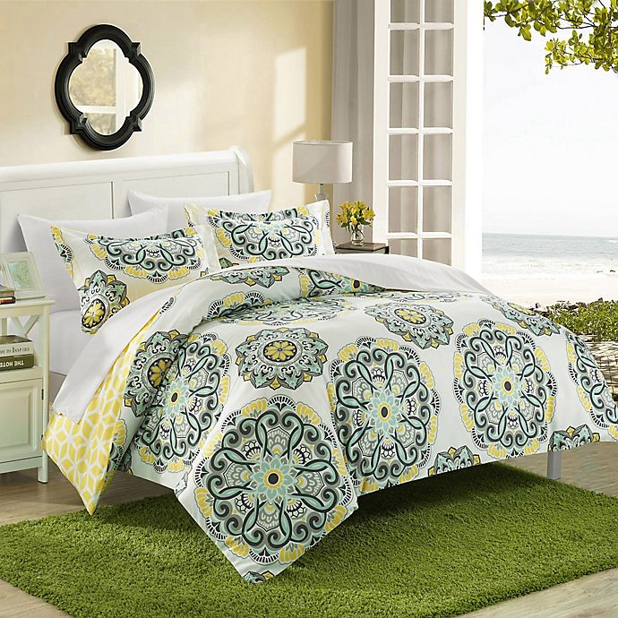 Alternate image 1 for Chic Home Majorca 7-Piece Reversible King Duvet Cover Set in Yellow