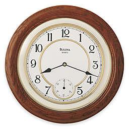 Bulova William Round Wall Clock in Dark Oak