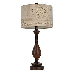 Wood-Tone Table Lamp in Brown with Script Fabric Shade