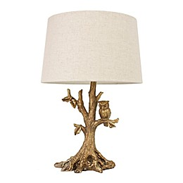 Décor Therapy Owl Table Lamp in Gold Leaf with Oatmeal Linen Shade