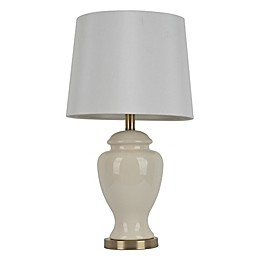 Décor Therapy 24-Inch Ceramic Table Lamp in Cream with White Linen Shade