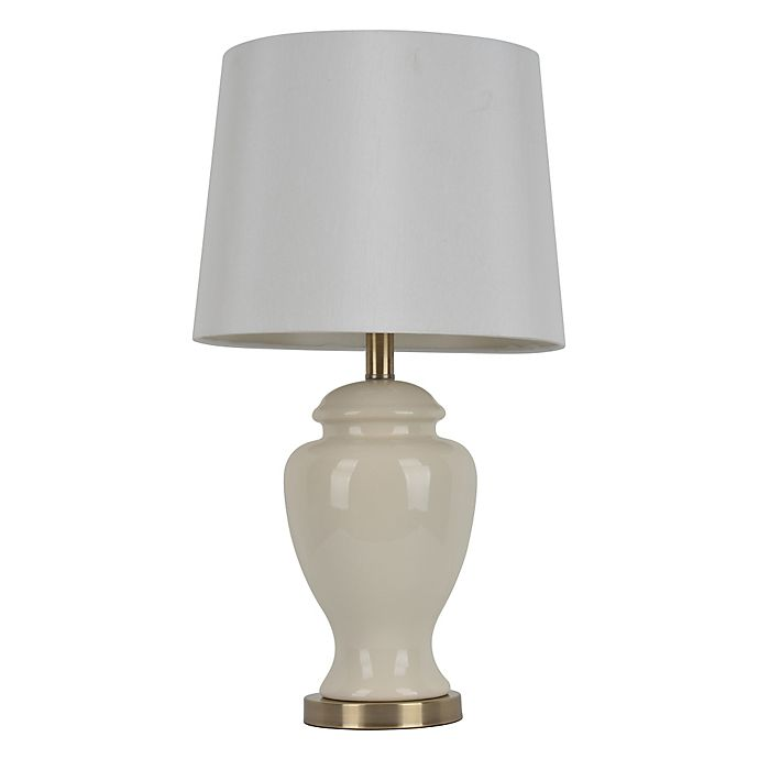 Alternate image 1 for Décor Therapy 24-Inch Ceramic Table Lamp in Cream with White Linen Shade
