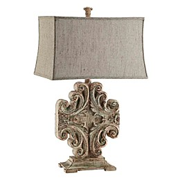 Stein World Sonia Scroll Table Lamp with Beige Rectangular Shade