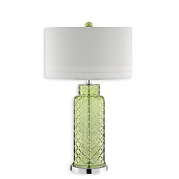 Romeo Glass Table Lamp in Green with Linen-Textured Shade