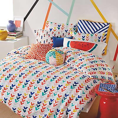 Scribble Check Mark Comforter Set in Red/Navy