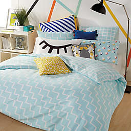 Scribble Zig-Zag Reversible Comforter Set in Aqua