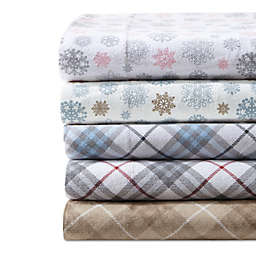 True North by Sleep Philosophy Cozy Flannel Sheet Set in Tan/Blue