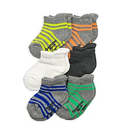 OshKosh B'gosh® 6-Pack Striped Ankle Socks in Grey