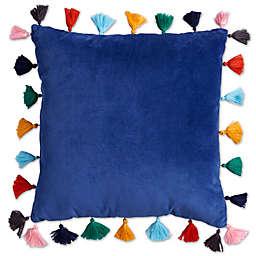 Velvet Tasseled 16-Inch Square Throw Pillow