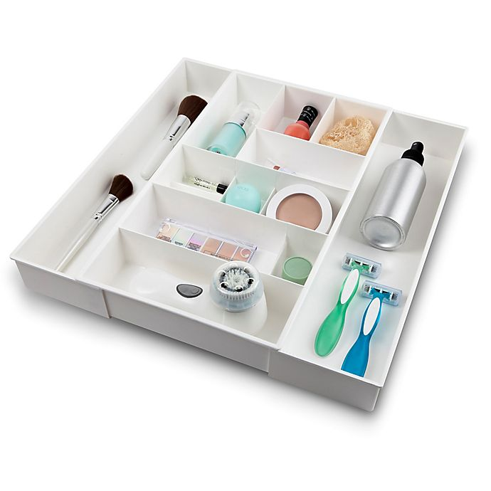 Alternate image 1 for Expandable Plastic Cosmetic Drawer Organizer in White